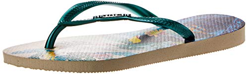 Havaianas Damen Slim Tropical Zehentrenner, Mehrfarbig (Beige 7907), 39/40 EU