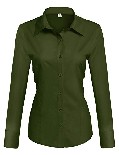 Hotouch Women's Cotton Collared Button Down Shirt Long Sleeve Blouse (Army Green M)