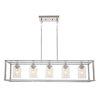 VINLUZ 5 Light Chandeliers Chrome with Clear Glass Shade Modern Industrial Kitchen Island Pendant Lights Linear Dining Room Lighting Fixtures Hanging, Farmhouse Flush Mount Ceiling Light for Bar