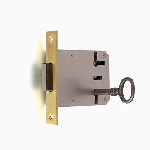 Antikas - Möbelschloss mit Eisenschlüssel, Einsteckschloss mit Messingstulpe Dorn 50 R/L