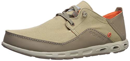 Columbia PFG Men's Bahama Vent Relaxed Laced Boat Shoe, Steam, Electron Yellow, 13