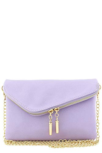 Envelope Wristlet Clutch Crossbody Bag with Chain Strap (Lavender)