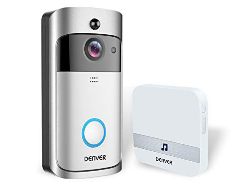 Denver Klingel mit Video VDB-110 Doorbell. Video-Türsprechanlage mit WiFi-Funktion und Klingel innen. Bewegungserkennung. 720P Kamera Verbindung mit Handy Kostenlose App für Android und iOS