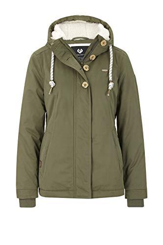 Ragwear Lynx Teddy Damen Frauen Winterjacke mit Kapuze,durchgängiges Futter, Monade, Regular Fit, wasserabweisend,Olive(5031), S