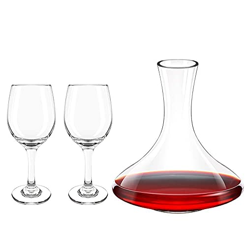 Almagic Red Wine Decanter con 2 bicchieri, confezione regalo da 3