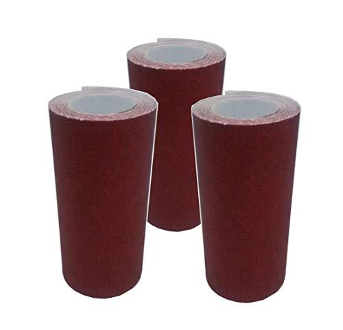 Papier à poncer lot de 3 rouleaux de 4M X 10CM grain 80,100 et 120 abrasif pour bois, fer, peinture, enduit, plâtre papier de verre ponçage facile.Utilisation main, cale à poncer et ponceuse
