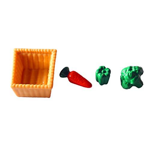 GRASARY 4 piezas de verduras en miniatura DIY Exquisites Resina Pretend Play Food Model para Dollhouse Pretend Play Entertainment, perfecto DIY Dollhouse Toy Set de regalo de verduras
