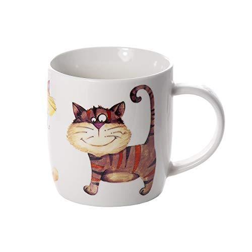 Tazas de desayuno originales de café té con decoración de lindo gatos, color beige apto para lavavajillas y microondas, regalo para los amantes de los animales de gato Cat Mug Cup Gift Animal Lovers