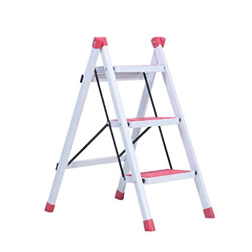Drie-laddertje, Outdoor kleur ladder Portable metalen ladder Folding woonkamer ladder maat 42 * 68 * 81cm vouw (Kleur: oranje, Maat: 42 * 68 * 81cm) XIUYU (Color : Pink, Size : 42 * 68 * 81CM)