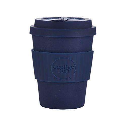 Ecoffee-Becher: Dark Energy Kaffeetasse mit blauem Silikon, 340 ml, wiederverwendbar und umweltfreundlich, zum Mitnehmen