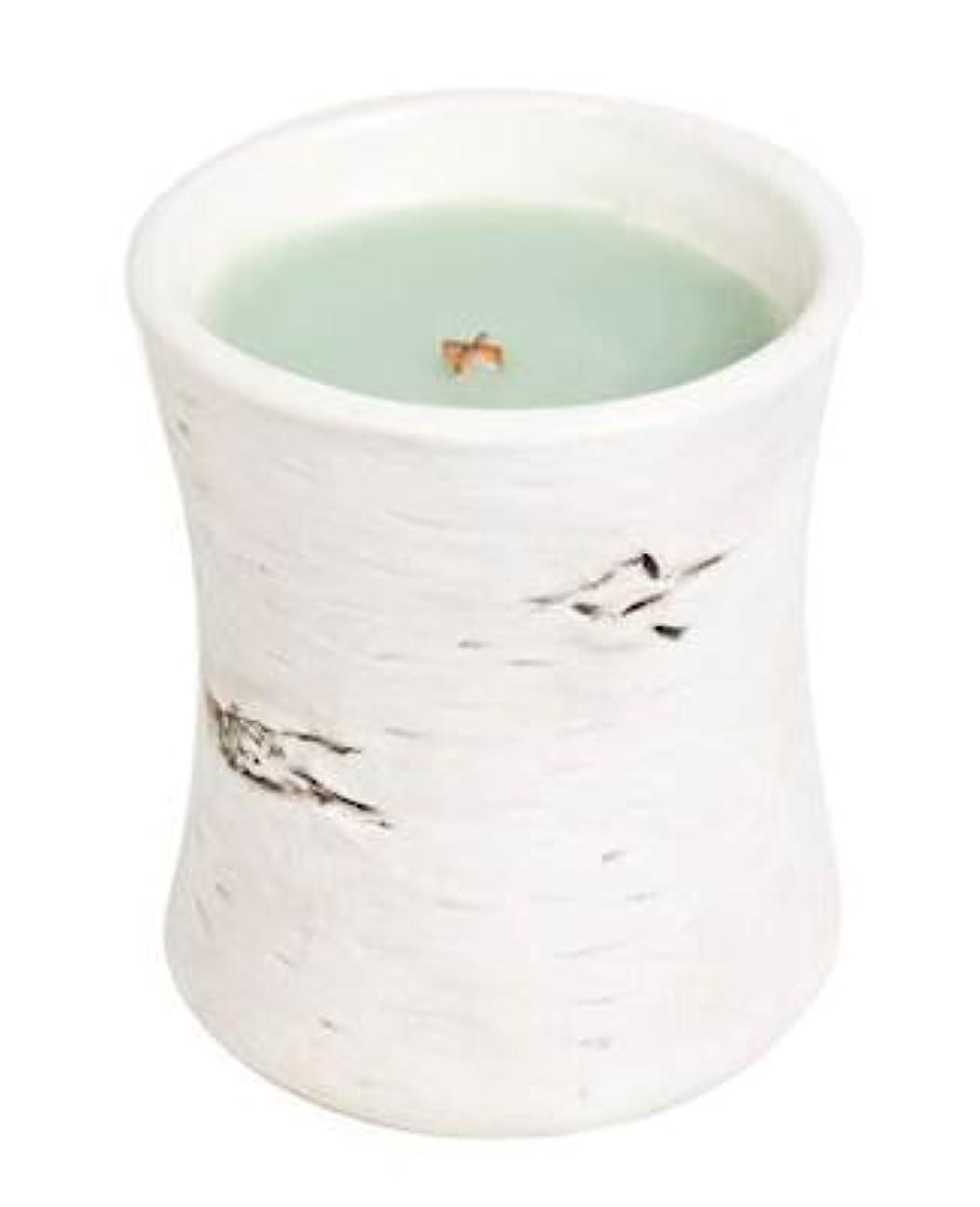 オープニング目指す孤独ホワイトWillow Moss?–?Birchセラミック砂時計Scented Candle by WoodWick