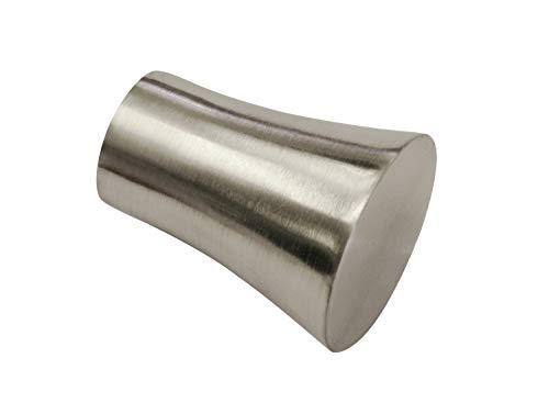 Gardinia Konus, 2 x Endstück, Metall, Edelstahl-Optik, für Gardinentechnik Ø 19 mm