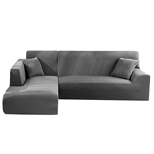 Sofa Überwürfe Elastische Stretch Sofabezug Sofa Bezug Stretchy L Form Sofa Abdeckung Ecksofa Elastisch Sofahussemit 2 Stücke Kissenbezug 2 teilig Sofahusse (Grau 3 Sitzer+2 Sitzer)