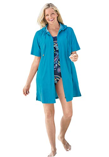 Swimsuits For All Women's Plus Size Hooded Terry Swim Cover Up Swimsuit Cover Up - 30/32, Blue Sea
