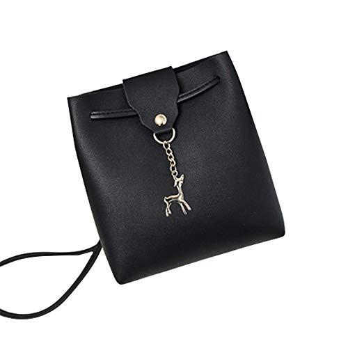 Ai-yixi Diseño clásico para mujer, mini bolsa de hombro para teléfono móvil, diseño de ciervos, perfecto salvaje (color: negro, tamaño: 17 x 18 x 7 cm)