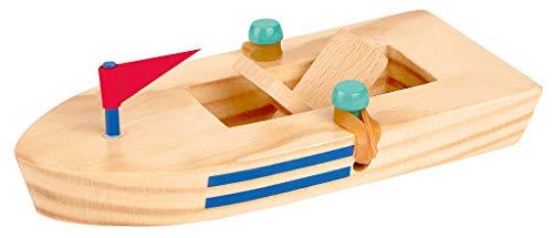 Moses. 30547 Holzboot mit Gummimotor | Spielzeugklassiker für Kinder, bunt