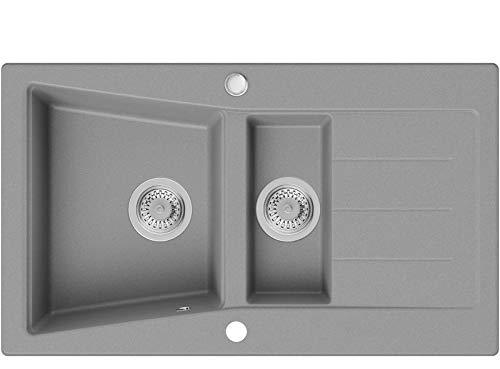 Évier de Cuisine en Granit Gris, 88 x 52 cm, Lavabo 1,5 bac + Siphon Classique, 5 couleurs et option antibactérienne, Évier à Encastrer de Primagran