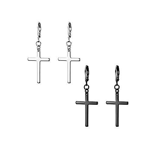 JewelryWe Pendientes largos de acero inoxidable con forma de cruz para hombre y mujer,Color Plateado Negro,Regalos para Cumpleaños,Regalos para Navidad