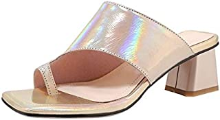 Elegant beautiful slippers Summer Women Genuine Leather Thick Heels Slippers Female Casual Peep Toe Sandals for Women Party Wedding Pumps (Color : Gold, Shoe Size : 39)