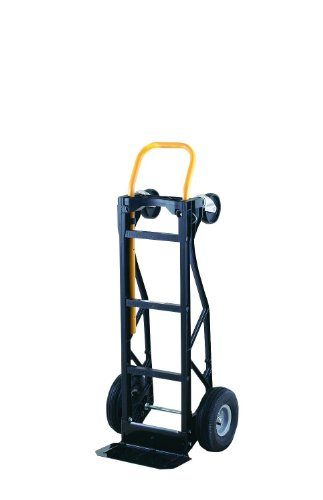 Harper Trucks 700 lb Capacity Glass Filled Nylon Convertible Hand Truck and Dolly with 10' Pneumatic Wheels , Black with yellow handle - PGDYK1635PKD