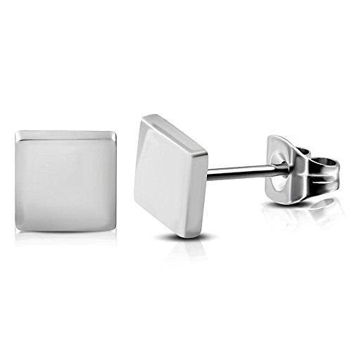 Bungsa Ohrstecker viereckig silber 6mm - 1 Paar Edelstahl (Ohrringe Ohrschmuck Ohrklemmen Quadrat Rechteck Damen Frauen Herren Mode Studs Earrings)