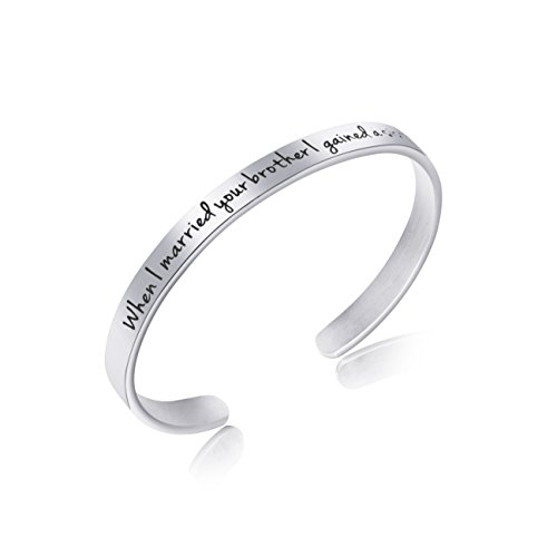 Awegift Sister in Law Jewelry Sister of The Groom Wedding Party Gifts for Her Personalized Mantra Cuff Bracelet