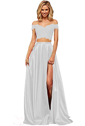 Lover Kiss White Lace Satin Prom Dresses with Slit Long Two Piece Off Shoulder Formal Evening Gown...