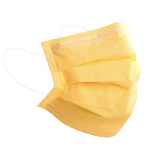 Einmal-Masken-Mundschutz, Einwegmasken Mundschutz, Mund und Nasenschutz, Mundschutz Maske, Maske Schutzmaske, Mund und Nasenschutzmaske, Mundschutz Einweg, MNS Maske (10, Gelb)