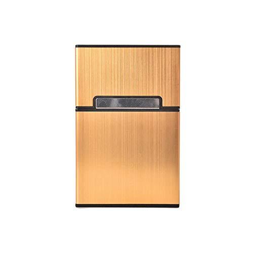 AOM Ultra Mince Mode en Aluminium Métal Étui à Cigarettes Tabac Porte-Cigare Poche Boîte Conteneur Pack Mini Porte-Cigarette Ménage, Jaune