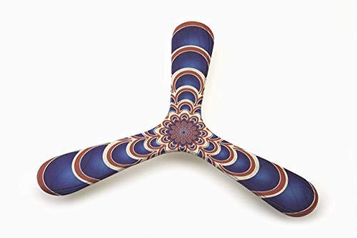 Bumerang Blue archs, Bedruckter Anfänger Bumerang aus Birkenholz