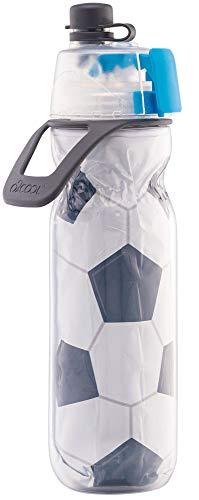 O2COOL Insulated Mist N' Sip Water Bottle - 20 oz, Soccer (HMLDP07)