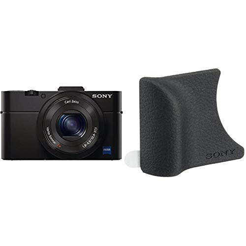 Sony RX100 II Premium Kompakt Digitalkamera (20 MP, 7,6 cm (3 Zoll) Display, 1 Zoll Sensor, 28-100 mm F1.8-4.9 Zeiss Objektiv, Wi-Fi, NFC) (DSC-RX100M2) schwarz & AG-R2 Griffbefestigung schwarz