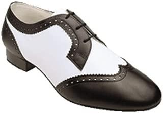 6400 Men's Latin Shoe in Black & White Leather