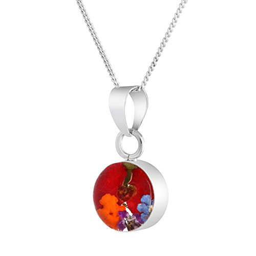 Byzantium Collection Handmade Small Silver Round Mixed Poppy Necklace Made with Real Flowers - Pendant Comes with 18' Sterling Silver Chain and Velveteen Pouch