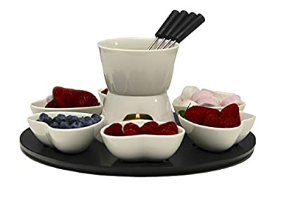 MCMUSHY Heart Shaped Chocolate Fondue Set, Perfect Gift for Mothers day, Girlfriend, Wife gifts or Housewarming Present for couples
