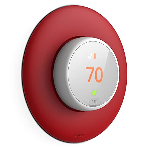elago Wall Plate Cover Designed for Google Nest Thermostat E Wall Plate (2017)(Red) - Compatible with Nest Thermostat E, Hard ABS Material, Not Compatible with 2020 Models [US Patent Registered]