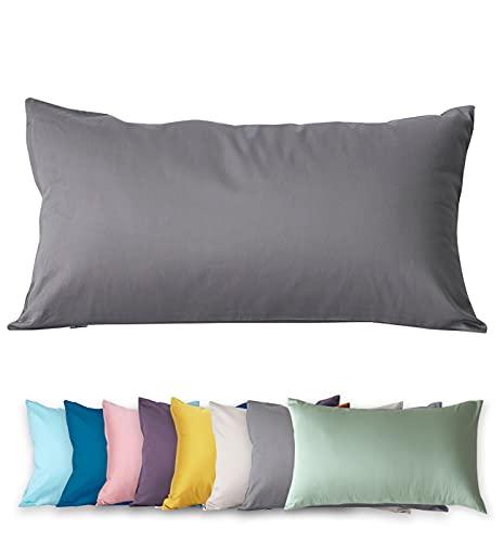 Funda de almohada de 40 x 80 cm, 400 hilos, 100% algodón, muy suave, calidad prémium, funda de almohada egipcia, funda de almohada extra larga, funda de almohada (gris (Iceberg Gray, 40 x 80 cm)