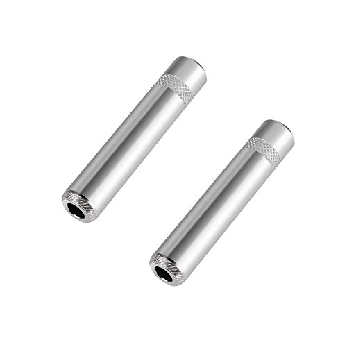 Devinal [Heavy Duty] [Metal Construction] 1/4 inch 6.35mm Female Jack Stereo TRS TS Solder Type Adapter Connector, 2 Pack