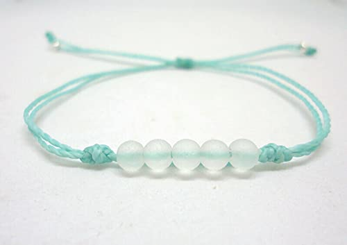 Sea Glass Bead Bracelet-Made from Recycled Glass Beads - Adjustable Waterpr