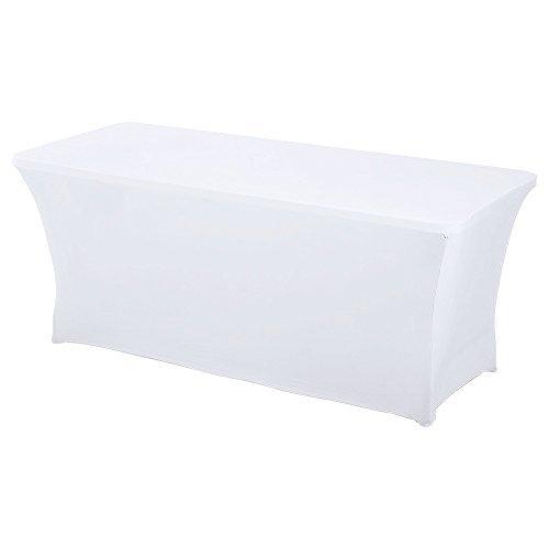 HAORUI Spandex Stretch Lycra Table de 122cm Couverture de Tissu rectangulaire Table à chevalets Banquet de Mariage(122×76×76cm Blanc)