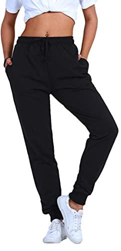 Björn Swensen Pantaloni da jogging da donna in cotone, pantaloni sportivi da donna, pantaloni lunghi per il tempo libero, pantaloni da allenamento, per ragazzi e jogging, slim fit, Nero , M