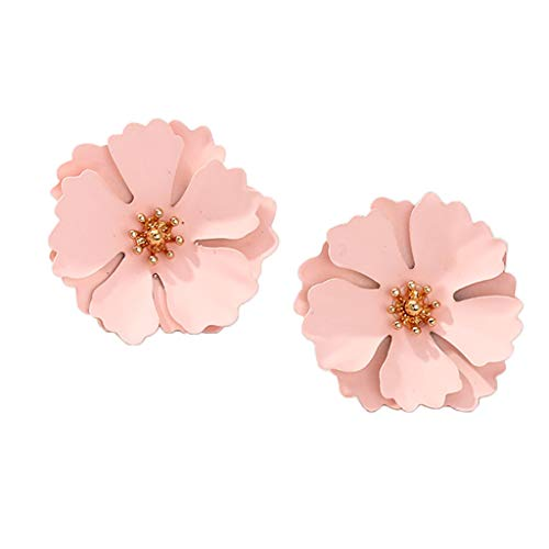 Non-brand Cute Pink Flower Styling Earrings Jewelry Alloy for Women Girl Dress Up Gift