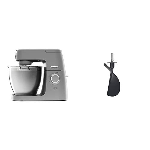 Kenwood Chef Elite XL Stand Mixer for Baking- Powerful, Large Food Mixer, with K-beater, Dough Hook, Whisk and 6.7 Litre Bowl, 1400 W, KVL6100S, Silver & AT512 Folding Tool Attachment, X-Large