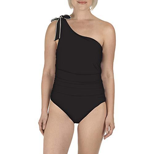 CAROLE HOCHMAN Swimwear One 1 Piece Swimsuit Single Shoulder (14, Black)