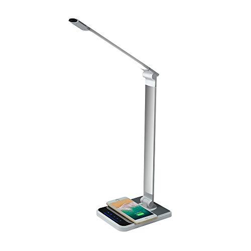 Lámpara de escritorio LED para el cuidado de los ojos, lámpara de oficina regulable con carga inalámbrica y puerto de carga USB, sensor de mano y control táctil, 3 modos de color, 5 niveles de brillo