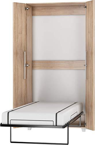 FurnitureByJDM Schrankbett Vertikal, Wandklappbett, Bettschrank, Wandbett, Schrank mit integriertem Klappbett, Funktionsbett - TEDDY - (Eiche Sonoma, 90 x 200 cm)