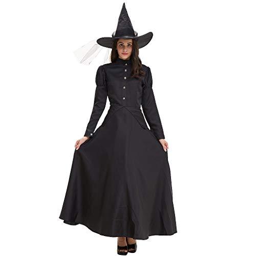 Allence Halloween Kostüm Damen Hexe Verkleidung Zauberin Witch Outfit Kleid Schwarz Cosplay Party Hexenkostüm mit Hut