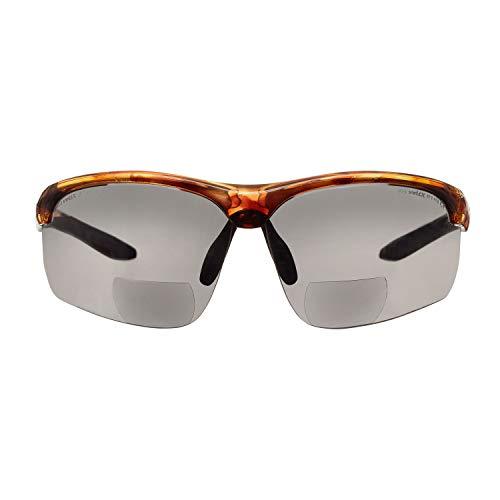 Gafas bifocales de Seguridad para Lectura voltX 'Constructor Ultimate' (Montura Carey, Lentes ahumadas Dioptría +1.5) CE EN166FT - Bifocales Ciclismo Deportivo Premium - UV400