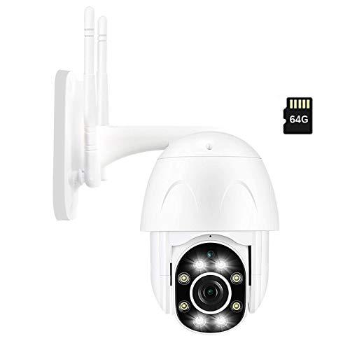 PTZ WiFi IP Camera, Fyuui 1080P Full HD Outdoor PTZ Wireless Camera (64G SD Card), 2.0MP Home Surveillance Camera, Pan Tilt 4X Digital Zoom,Dual 5DB Antenna,Detection Alarm,APP Remote Monitoring