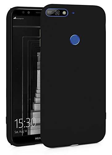 MyGadget Silikon Hülle für Huawei Y7 (2018) - robuste Schutzhülle TPU Hülle Slim Silikonhülle Back Cover Ultra Kratzfest Handyhülle in Schwarz